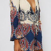 Bohemian Print V-Neck Long Sleeve Romper