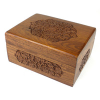 Handmade  Carved Wooden Box  Rose Detail Design