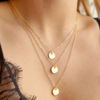 Layered Round Pendant Necklace