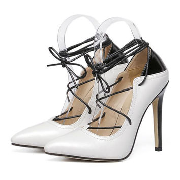 Cross Lace-up Chromatic Color Thin High Heel Low-cut Thin Shoes Pointed   white  35