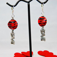 Dangle Earrings Red Valentine Love Charms, Tiger Stripes