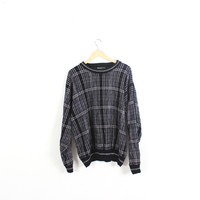 Retro thick and chunky knit sweater.  Oversized, slouchy vintage cotton sweater. Pullover. Crewneck. Cosby. Black/White. Plaid. XL