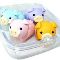 Iwako Japanese Erasers In A Mini Bento Box - Pigs