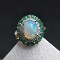 Natural Ethiopian Rainbow Opal and Emerald Engagement Ring