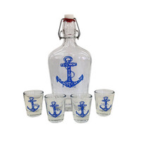 Down The Hatch Glass Flask and 4 Shot Glasses