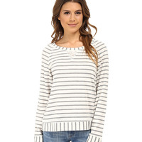 Splendid Lace Trimmed Pullover Sleep Top Luxe Stripe - 6pm.com