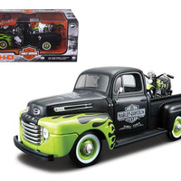 1948 Ford F-1 Pickup Truck Harley Davidson With 1948 FL Panhead Motorcycle Black-Green 1-24 by Maisto