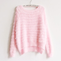 Pink Slit Side High Low Fuzzy Sweater