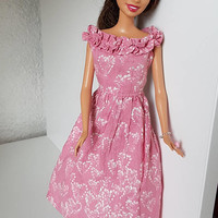 Fashion outfit for dolls clothes barbie dress pink hand made dollhouse gift for her women birthday