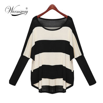 Batwing Sleeve Striped Knitted Pullover Sweater