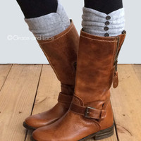 GRACE & LACE: Ruched Boot Cuffs - Light Gray