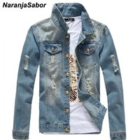 NaranjaSabor Spring Autumn Men's Jean Jackets Casual Slim Fit Outerwear Solid Male Jean Coats Fashion Male Brand Clothing N410