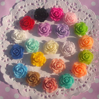 Cabochon 60 pcs- 18mm roses - Flat back, flower jewelry :  rings, earrings, bobby pins, necklace,