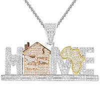 Silver Men's Home Trap Africa Map  Custom Pendant Chain