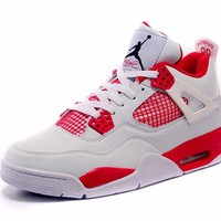 Air Jordan 4 Retro AJ4 White/Red Sneaker Shoes US size 8-13