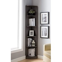 Wooden Corner Display Cabinet with 5 Shelves, Distressed Gray