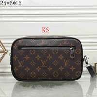 LV Louis Vuitton 2018 latest female trendy leather handbag F-KR-PJ Coffee printing
