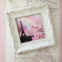 Paris Pink Photo With Frame, Paris Pink Eiffel Tower Print, Shabby Chic Decor White Frame, Eiffel Tower White Frame, Paris Shabby Chic Decor