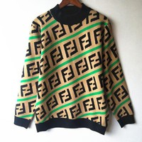 FENDI Classic Women Men Casual FF Letter Jacquard Round Collar Knit Sweater Top Sweatshirt 4#
