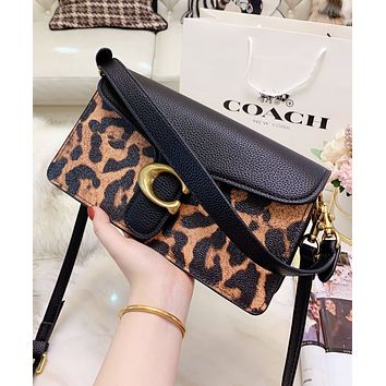 Coach Popular Women Shopping Bag Leather Leopard Grain Handbag Tote Shoulder Bag Crossbody Satchel