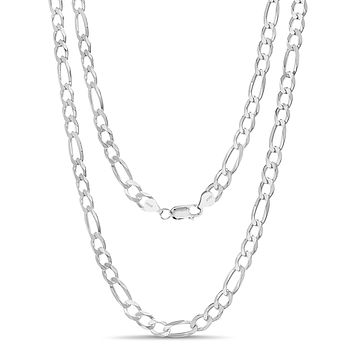 """ARTURO ZETA 925 Solid Sterling Silver Chain Necklace/Bracelet for Men Figaro Link Italy (Various Styles) 24"""" 6.0mm"""