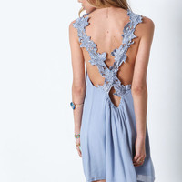 DUSTY BLUE FLORAL CROCHET CREPE DRESS