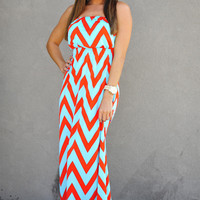 Tall Glass Of Water Maxi Dress: Mint/Red | Hope's