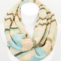 Count Your Blessings Fair Isle Knit Chunky Infinity Scarf in Blue | Sincerely Sweet Boutique