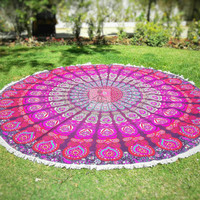 Round Beach Throw - Round Mandala - Outdoor Decor - Beach Decor - Beach Life - Boho Beach - Hippie - Picnic blanket - Rug - Tablecloth 3020
