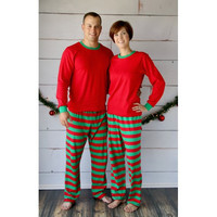 Adult Christmas Pajamas - Red Top with Red and Green Strip Bottoms - Unisex Sizes! Restocked for Delivery by 12/12/2014!