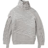 Burberry - Runway Oversized Patchwork Cable-Knit Cotton-Blend Sweater