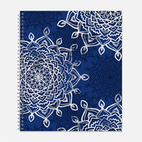 Blue and White Lacy Mandalas Notebook, Waterproof Cover, Journal, Moroccan Notebook, Royal Blue, School Supplies, College Ruled