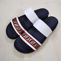 FENDI Slippers Mens Fashion Trend Outer Wear One-Fragment All-match Thick-soled Mens Two-Strap Sandals Beach Shoes White