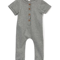 Heather Gray Button-Up Playsuit - Infant