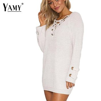 Sexy lace up Christmas sweater V neck women sweaters and pullovers female long knitted sweater Winter Autumn pull femme hiver