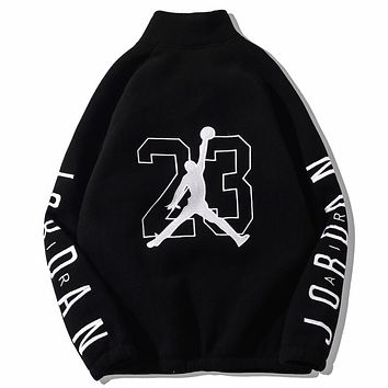 Jordan New fashion embroidery letter people long sleeve coat cardigan Black