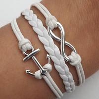 Infinity LOVE lovers bracelet--silver 8 infinity wish and anchor leather bracelet,white wax rope leather braided bracelet