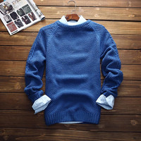 Mens Round Collar Slim Fit Warm Solid Sweater