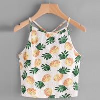 Women Sexy Halter Backless Camisoles Pineapple Print Summer Short Top Camis Cropped Feminino Sleeveless Tanks