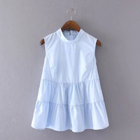 Sky Blue Sleeveless Ruffle Patchwork Blouse