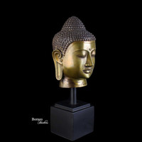 """Buddha Head 14.75""""Brass Buddha Sculpture Perfect Balance Of Thought, Rest Of Senses, and Tranquility Home Decor Buddha Bust"""