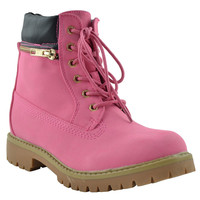 Womens Ankle Boots Rugged Zipper Accent Lace Up Hiking Shoes Pink
