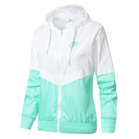 NIKE Trending Women Men Stylish Hooded Zipper Cardigan Sweatshirt Jacket Coat Windbreaker Sportswear White