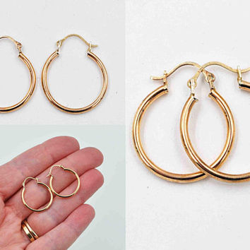 Vintage 14K Yellow Gold Hoop Pierced Earrings, Smooth, Shiny, Gold Hoops, Latch Back, 3/4 Inch, Fine Gold, Classic Beauties! #c464