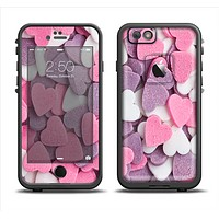The Pink and Purple Candy Hearts Apple iPhone 6 LifeProof Fre Case Skin Set