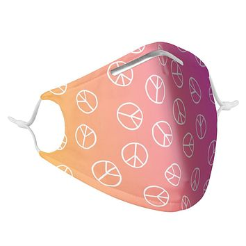 PINK PEACE SIGNS - MASK WITH (4) PM 2.5 CARBON FILTERS