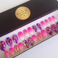 Pink Ombre Purple Stiletto Press On Nails | Nail Foils | Bright Summer Nails | Fake Nails | False Nails | Hand Painted Nail Art Design