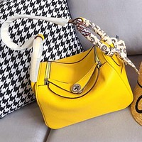 Hermes Popular Women Shopping Bag Leather Handbag Satchel Crossbody Shoulder Bag Yellow