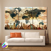 """LARGE 30""""x 60"""" 3 Panels Art Canvas Print Original Wonders world Map Texture Rustic Wall decor Home interior (Included framed 1.5"""" depth)"""