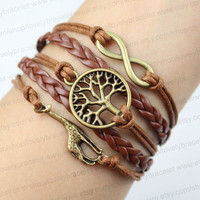 Infinity bracelet - the tree of life and giraffe, and a great karma friendship gift